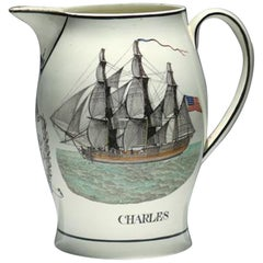 Liverpool Large Creamware Jug with American Ship, Inscribed Charles
