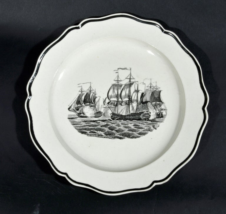 Georgian Liverpool Pearlware Plates Decorated with Ships, circa 1800 For Sale