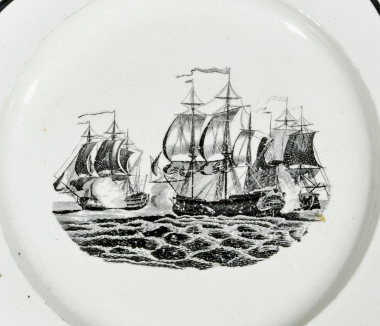 English Liverpool Pearlware Plates Decorated with Ships, circa 1800 For Sale