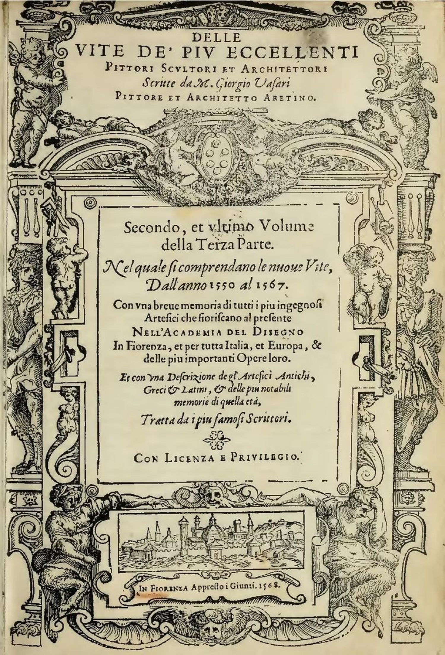 Architetti Famosi Antichi 'lives of the artists' , four complete volumes, giorgio vasari, florence  1568