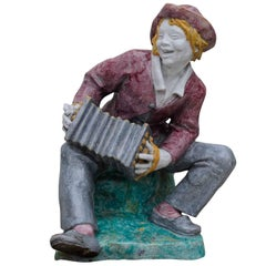 Livesize Garden Sculpture, Accordion Player by Josef Wackerle