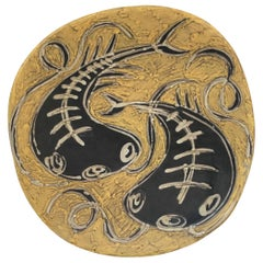 Lívia Gorka Hungarian Ceramist Mid-Century Modern Hand Thrown Wall Plate, 1960s