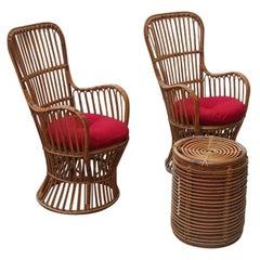 Living Garden Sets Bonacina Midcentury Design Armchairs Table Box, 1950s, Italy