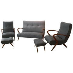 Living Room, 2 Grey Armchair Whit Footstools, 1 Grey Sofa, 1950, Italy