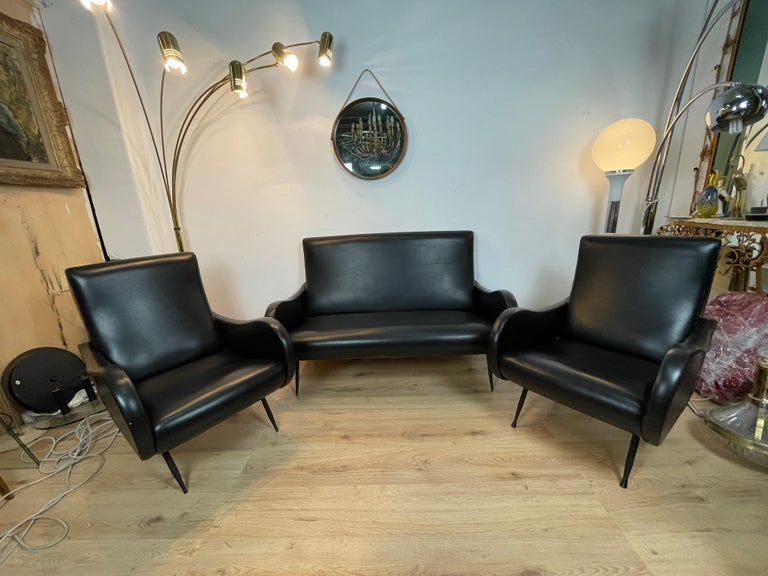 Modern Living Room 3 Pieces Zanuso For Sale
