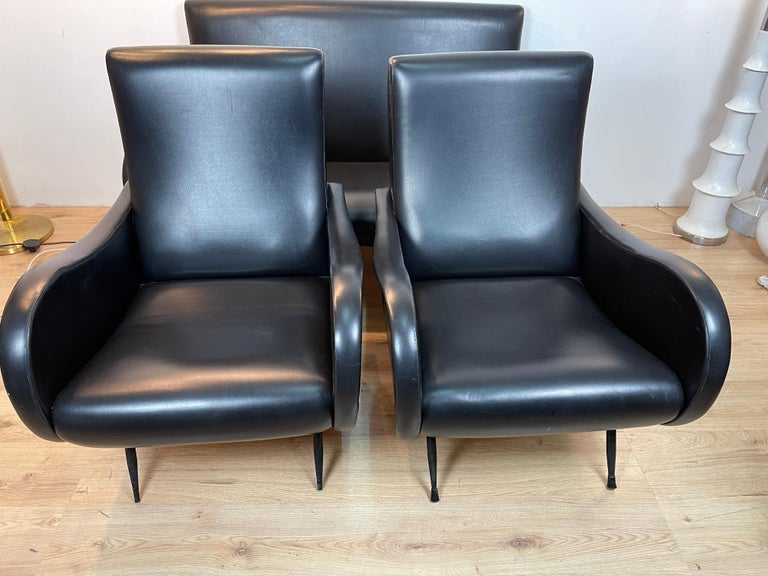 Living Room 3 Pieces Zanuso In Good Condition For Sale In Catania, IT
