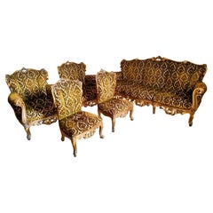 Living Room in Baroque Style Sofa, Pair of Armchairs and Little Armchairs, 1960s