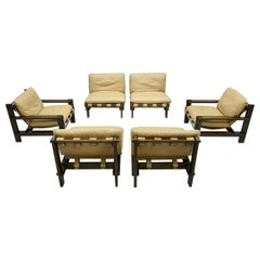 Living Room Set by Carl Straub Denmark 1960s in Oak and Leather