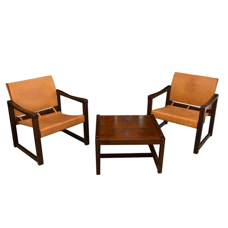 Living room set by Karin Mobring, Cognac Leather Safari Chairs with table, 70´s