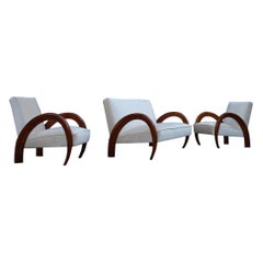 Living Room Set Italian Design 1940s Ducrot Palermo Walnut Curved Boomerang