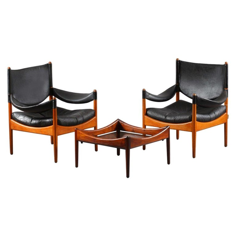 Living Room Set Two Leather Armchairs and Table, Solid Oak, Christian Vedel For Sale