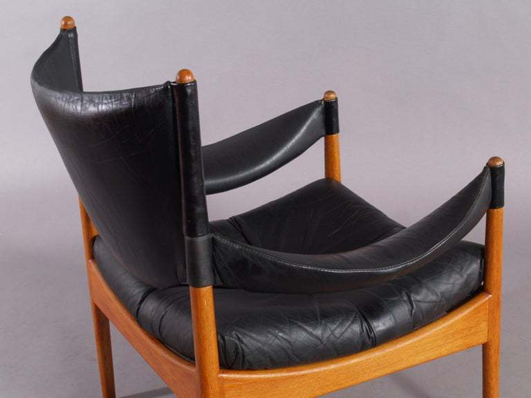Living Room Set Two Leather Armchairs and Table, Solid Oak, Christian Vedel In Good Condition For Sale In Vienna, Vienna