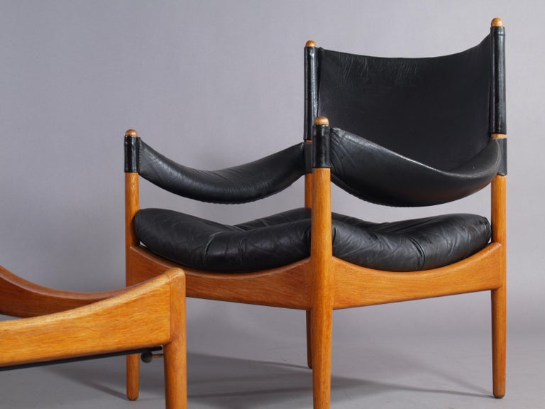 20th Century Living Room Set Two Leather Armchairs and Table, Solid Oak, Christian Vedel For Sale