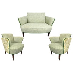 Living Room Set with Setee and Two Armchairs, 1920s-1930s