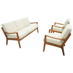 Living Room Suite by Ole Wanscher Denmark 1951 Sofa Lounge Chairs in Teak