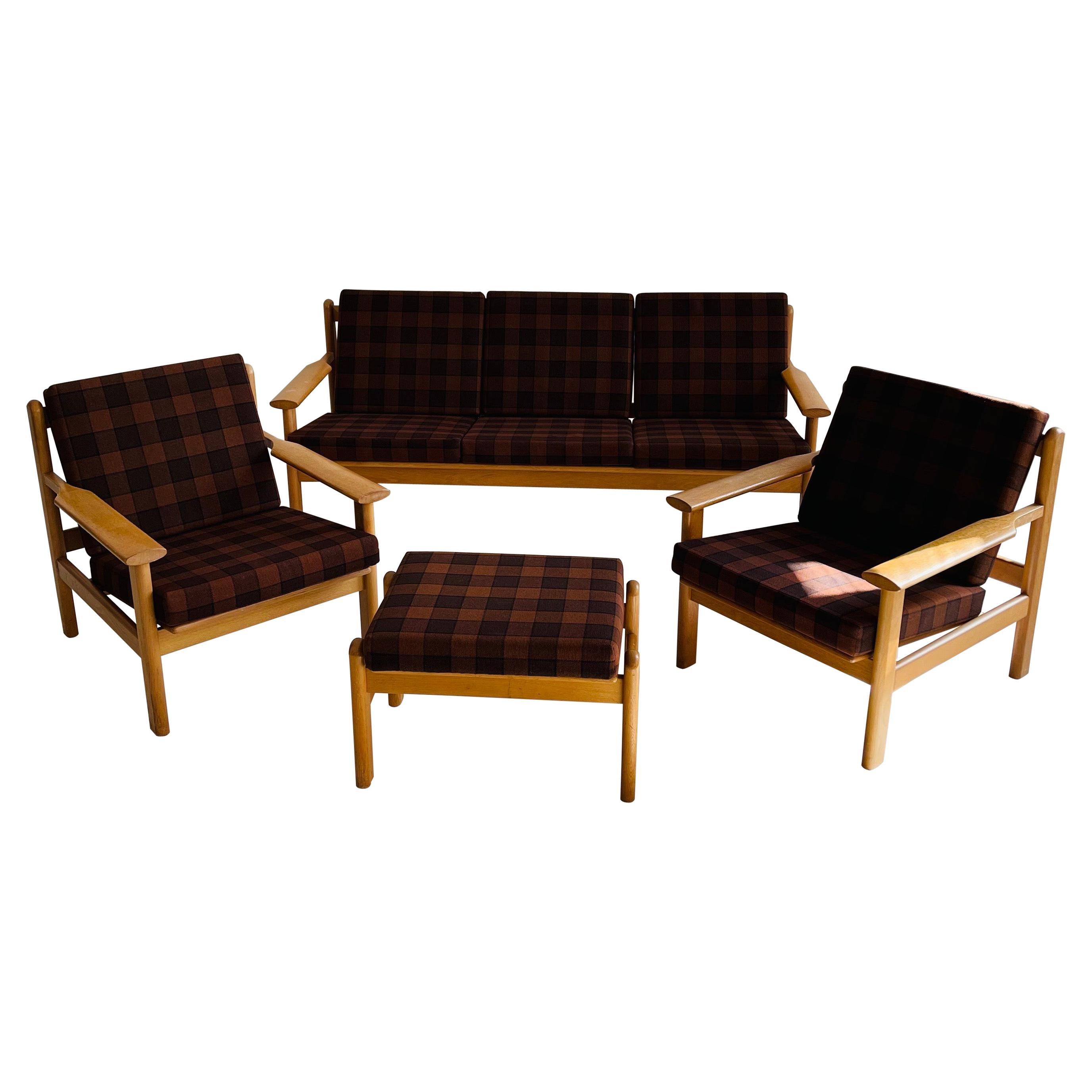 Living Room Suite Sofa Lounge Chair by Poul Volther for Frem Rølje, Denmark 1950
