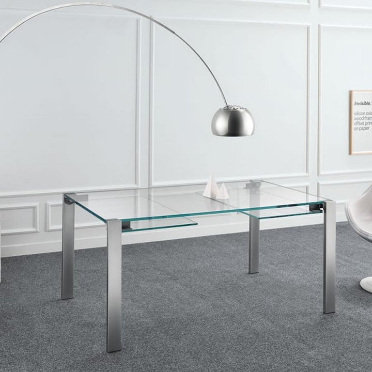 Italian Livingstone Glass Dining Table, Designed by Giulio Mancini, Made in Italy For Sale