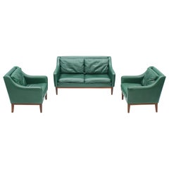 Living Room Set in Green Leather Sofa and Lounge Chairs Italy 1958 Teak