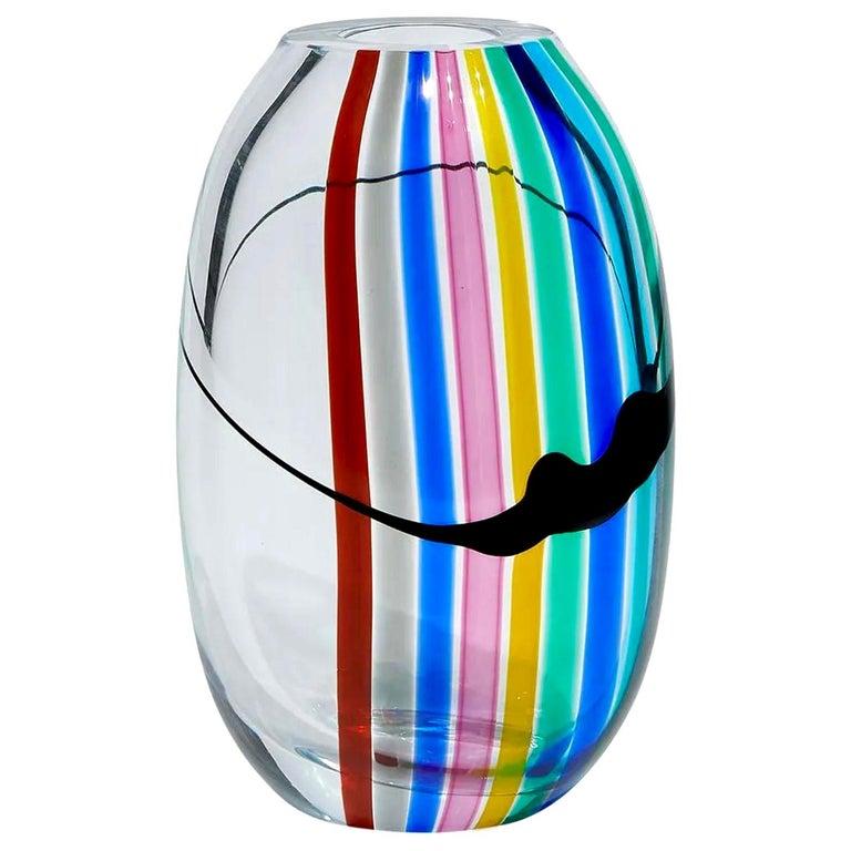 Livio Seguso for Seguso AV / Oggetti Rainbow Vase, Murano Glass, Italy, 1970s For Sale