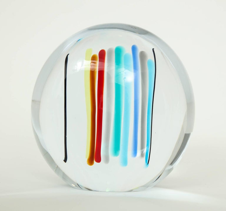 Lozenge shaped glass sculpture with vertical multicolor bands of color inside a clear matrix. A Livio Seguso design for Seguso Arte Vetri, circa 1980s. Incised signature