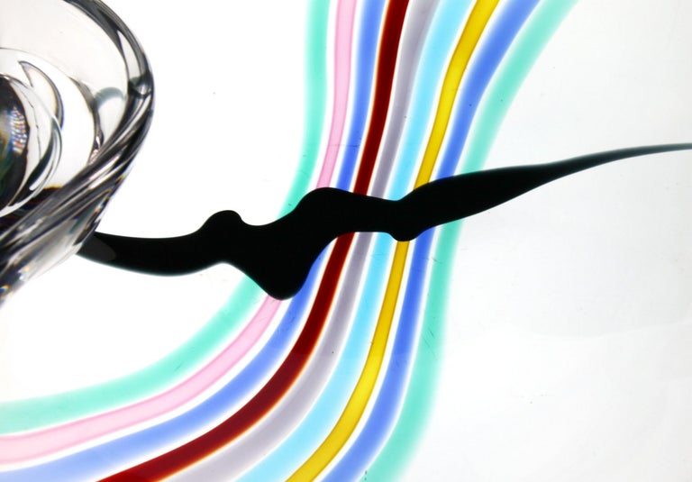 Livio Seguso, Heavy Murano Glass Bowl, Rainbow Design and Glass Orb, 80s Signed For Sale 3