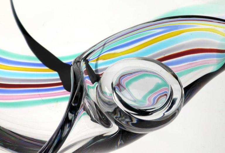 Livio Seguso, Heavy Murano Glass Bowl, Rainbow Design and Glass Orb, 80s Signed For Sale 9