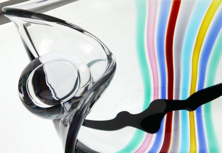 Livio Seguso, Heavy Murano Glass Bowl, Rainbow Design and Glass Orb, 80s Signed For Sale 12