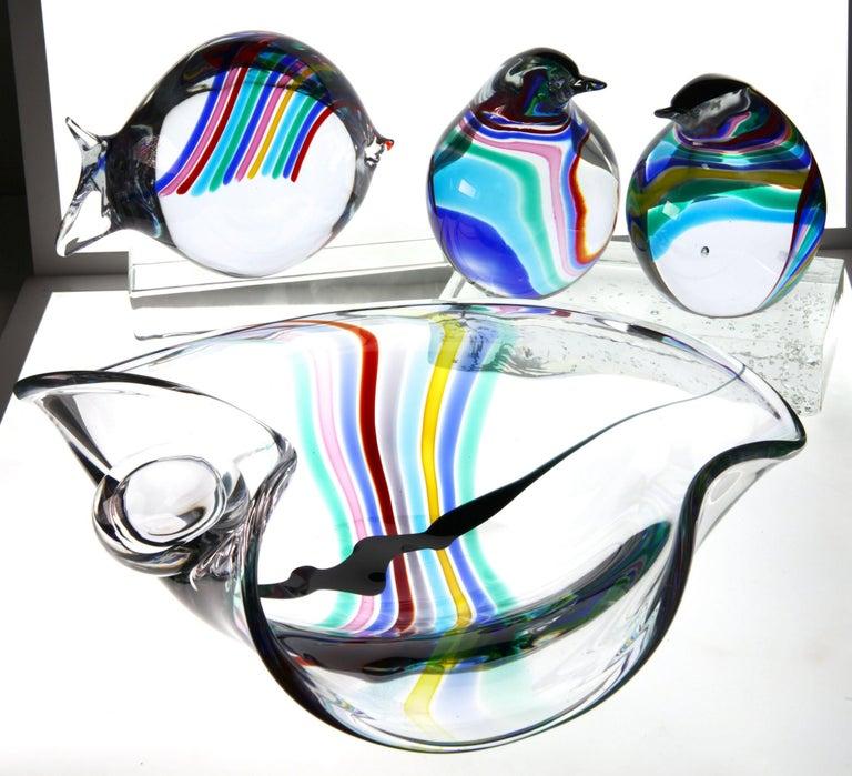 Livio Seguso, Heavy Murano Glass Bowl, Rainbow Design and Glass Orb, 80s Signed For Sale 13
