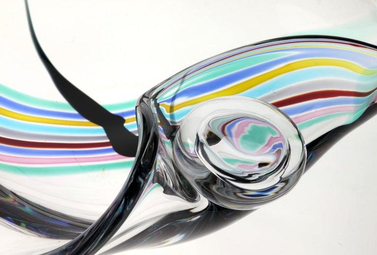 Mid-Century Modern Livio Seguso, Heavy Murano Glass Bowl, Rainbow Design and Glass Orb, 80s Signed For Sale
