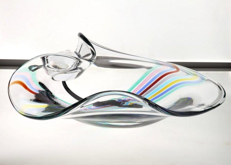 Italian Livio Seguso, Heavy Murano Glass Bowl, Rainbow Design and Glass Orb, 80s Signed For Sale