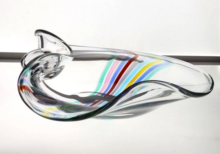 Late 20th Century Livio Seguso, Heavy Murano Glass Bowl, Rainbow Design and Glass Orb, 80s Signed For Sale