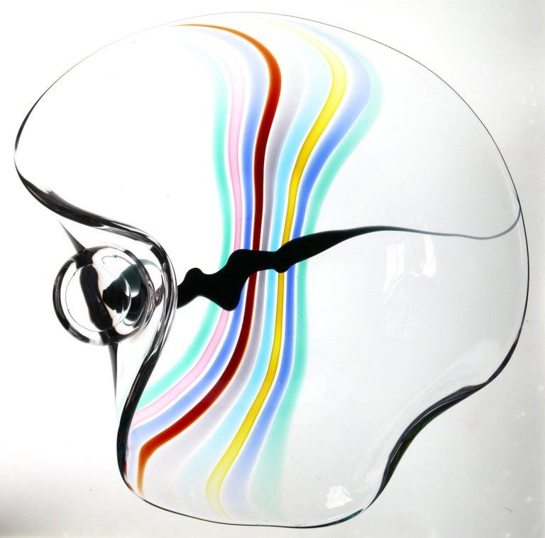 Livio Seguso, Heavy Murano Glass Bowl, Rainbow Design and Glass Orb, 80s Signed For Sale 1