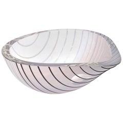 Livio Seguso Murano Gray, white, Black Textured Glass Bowl Vintage