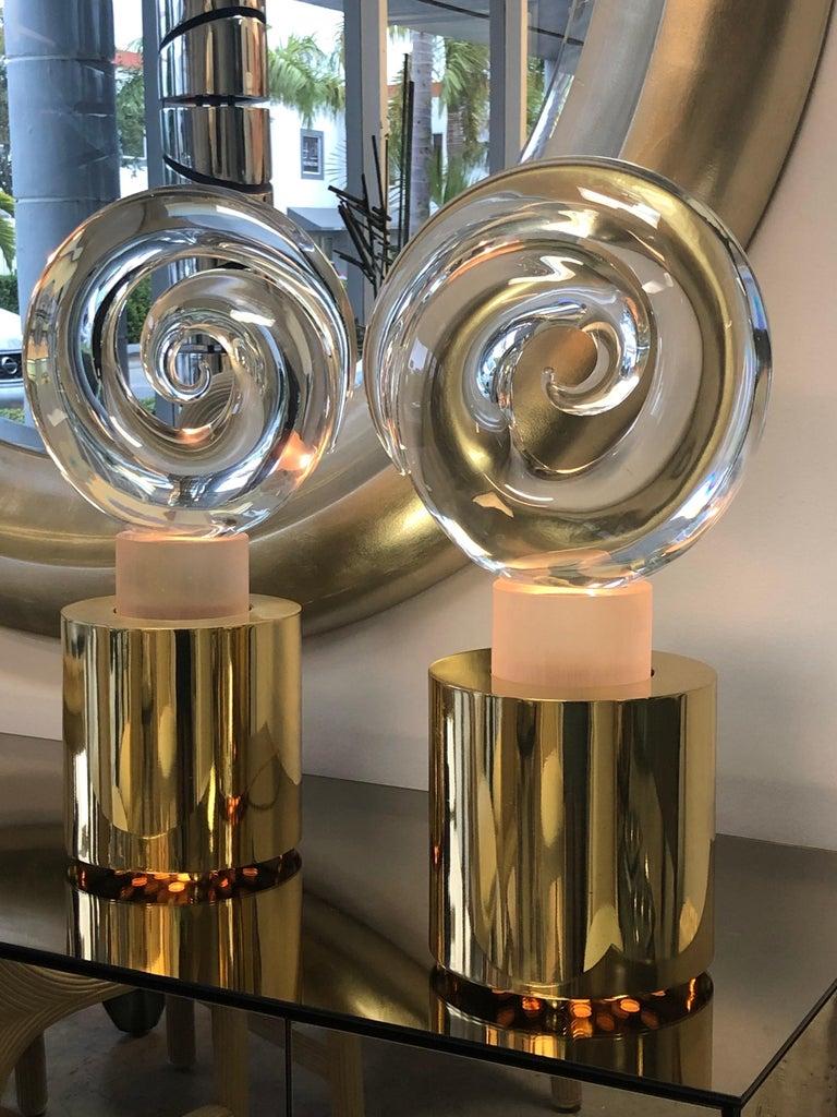 Livio Seguso Pair of Art Glass Murano Table Lamps Sculpture, 1978 For Sale 7