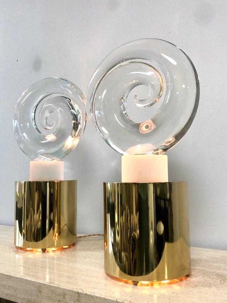 Livio Seguso Pair of Art Glass Murano Table Lamps Sculpture, 1978 In Good Condition For Sale In Miami, FL