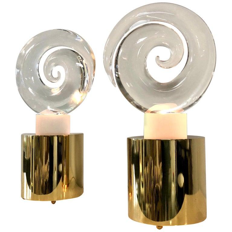 Livio Seguso Pair of Art Glass Murano Table Lamps Sculpture, 1978 For Sale