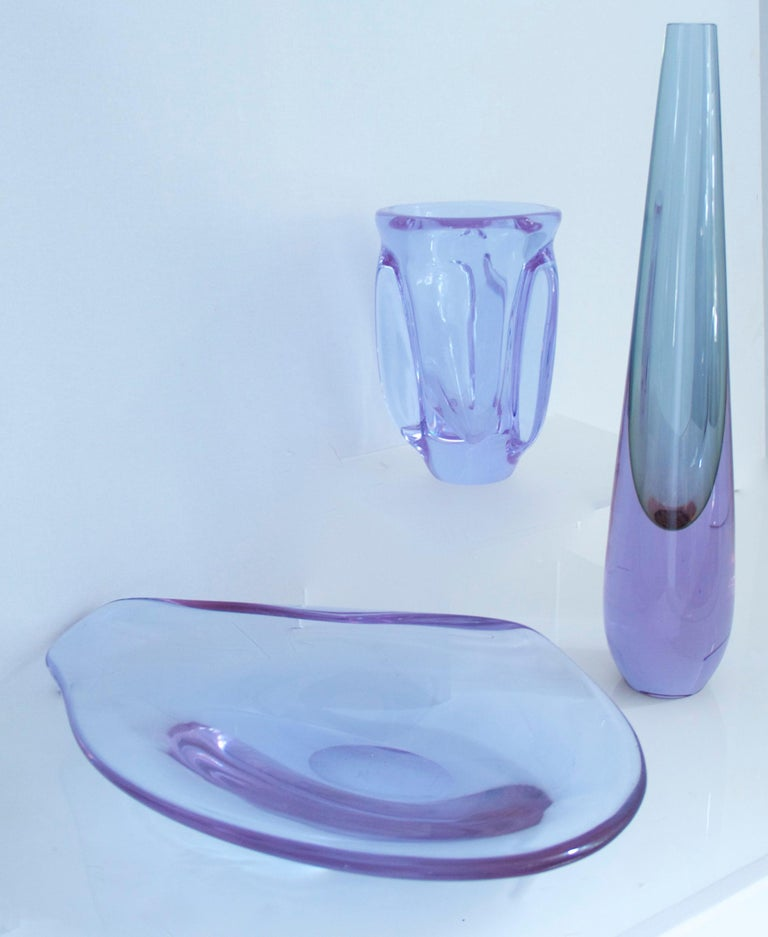 Livio Seguso Sommerso Elliptical Glass Sculpture with Label, Mid-1970s In Good Condition For Sale In Halstead, GB