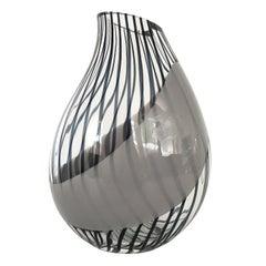 Livio Seguso Striped Murano Art Glass Vase