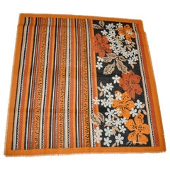 """Liz Claiborne Large """"Autumn Rust Floral & Stripes"""" Cotton Blend Fringe Scarf"""