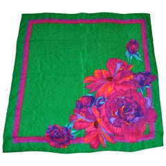 "Liz Claiborne Vividly Bold ""Bursting Blooms"" With Green Silk Scarf"