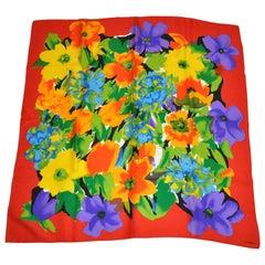 """Liz Claiborne Wonderfully Elegant """"Full Bloom Floral"""" Silk Scarf"""