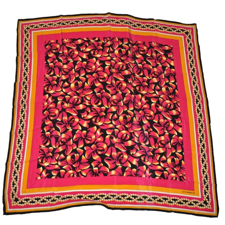 """Liz Claiborne Wonderfully Festive Fuchsia & Black """"Bundle of Bows"""" Silk Scarf For Sale"""