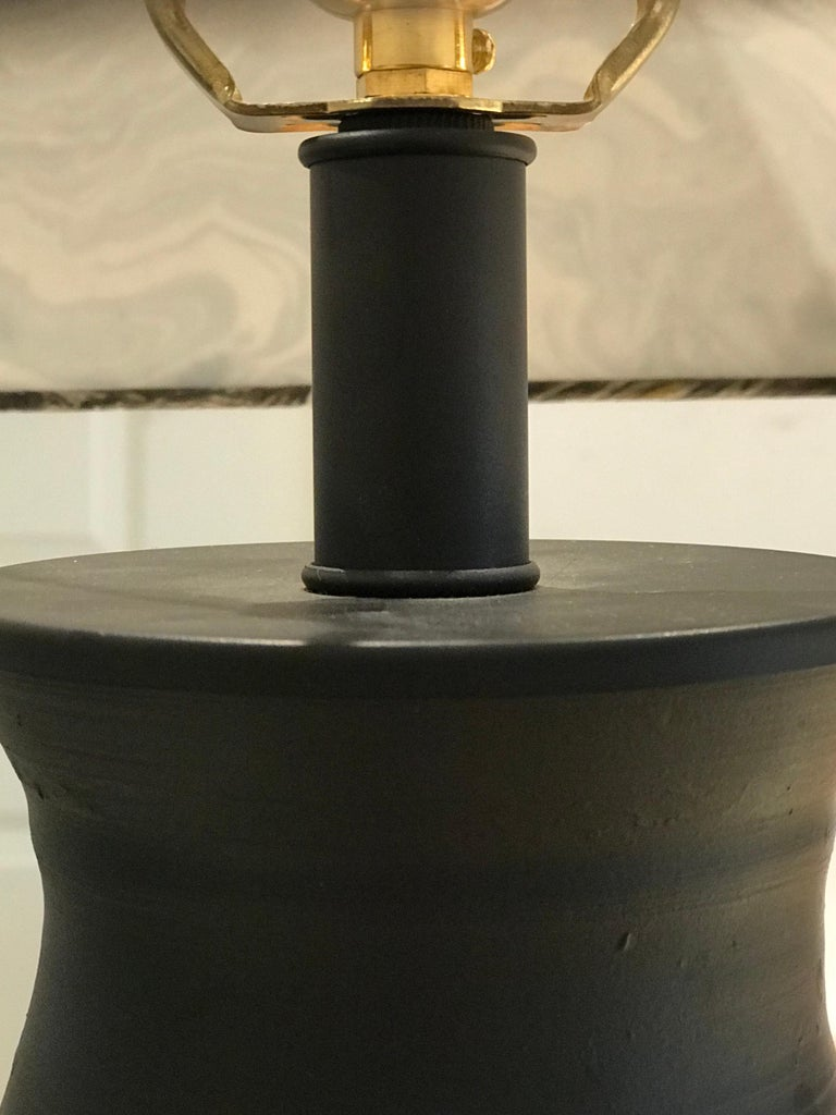 Liz Marsh Paris Now Black Stoneware Lamp with Marbleized Paper Shade In Excellent Condition For Sale In Houston, TX