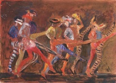 Commedia Dell'arte   (Woman Artist, New York, California, Figural, Red, Brown)