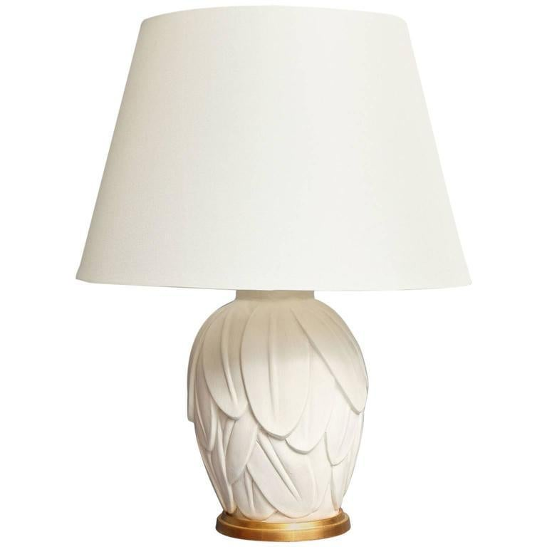 Liz O'Brien Editions Cast Plaster Palm Leaf Lamp In Excellent Condition For Sale In New York, NY