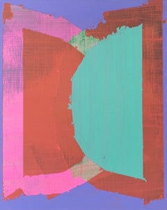 """Blur, abstract geometric painting on panel, pink, purple and teal, 10"""" x 8"""""""