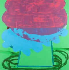 Busted Can of Biscuits, neon pink, blue and green oil painting, abstract shape