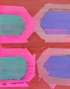 """House Down, abstract geometric painting on panel, pink and purple, 10"""" x 8"""""""