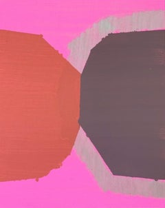 """Kiss, abstract geometric painting on panel, pink and red, 10"""" x 8"""""""