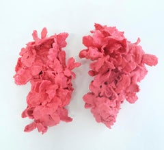 Joyful, pink wax and artificial flowers on ballet shoes, mixed media sculpture